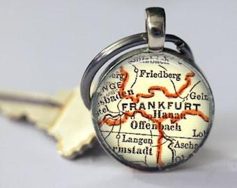 Frankfurt Germany Key Chain gift for Mom, Godmother Gift, Sister Gift, Daughter Gift, Custom Map Keychains Gift, Mom's Gift