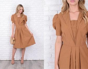 Vintage 80s Brown A Line Dress Pleated Midi Puff Sleeve Black Stripe Medium M 11539