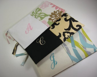 Personalized  Clutches - Bridesmaid Clutches - Monogrammed  Pouches - Your Choice - Made To Order, Set of 3
