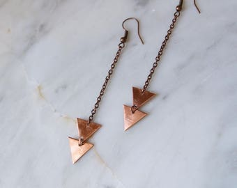 Copper Triangle Earrings, Long Earrings, Geometric Earrings, Copper Earrings, Edgy Earrings Gypsy Everyday Earrings Bohemian Earrings Boho