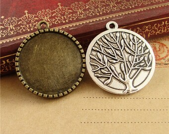 Wholesale 40 Pendant trays 25mm Round Bezel Setting Alloy Tree Back Antique Bronze/ Antique Silver Mountings, 136g