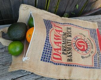 Vintage Burlap Tote Bag // Retro Rice Sack Purse // Boho Shopping Tote Bag