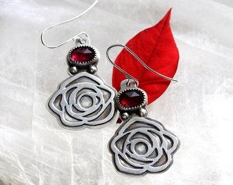 ON SALE/ Hot Pink Tourmaline Earrings/ Rose Earrings/ Textured Sterling Silver/ Floral Motif/ Art Deco Roses/ Red Pink earrings