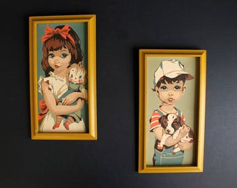 Vintage Big Eyed Boy and Girl Paint By Number Pair MCM Mod Framed PBN Boy and Puppy Girl and Rag Doll