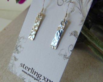 Sterling Silver Earrings Dangle Earrings Textured Earrings Sterling Dangles Silver Earrings Gift for Her