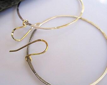 Large Hoop Earring Sterling Silver Earrings Hammered Silver Gold Hoop Earring Ombre Black Earrings Silver Hoop Earring Boho Earring