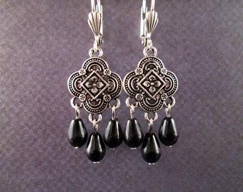 Oxidized Silver Chandelier Earrings, Black Glass Drop Pearl Earrings, FREE Shipping U.S.