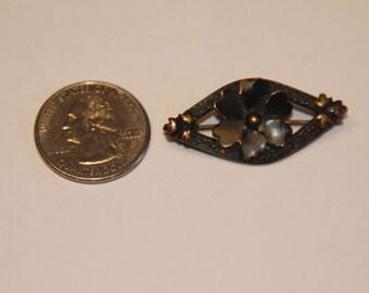Antique Edwardian pansy mourning jewelry brooch beak