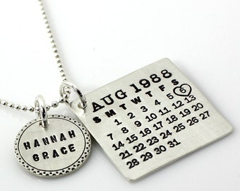 Personalized Calendar Necklace - hand stamped Mark Your Calendar sterling silver necklace with Fancy Bordered Name Charm