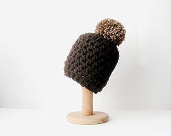 Brown Knit Beanie with Camel Brown Pom Pom  Chocolate Brown Hat  Chunky Women's Beanie
