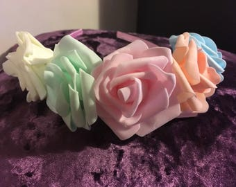 Pastel roses headband crown