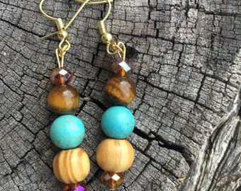 Turquoise, Tiger Eye, crystal, wood earrings