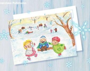 Snow Ball Battle Postcard Print
