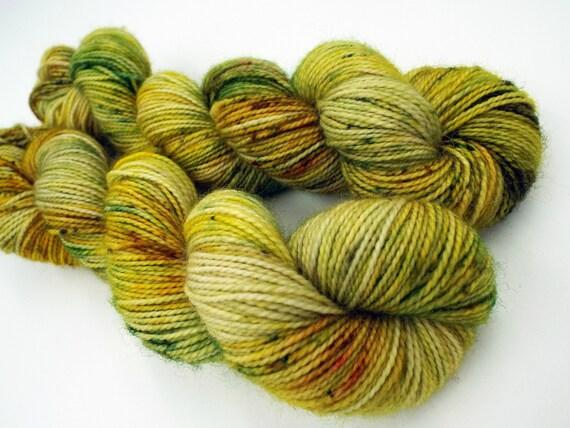 Hand Dyed Sock Yarn Superwash Wool Nylon 80/20 Fingering Weight Yarn Sock Yarn 50 Grams - Yellow Speckled Yarn Yellow Sock Yarn - Sprouts