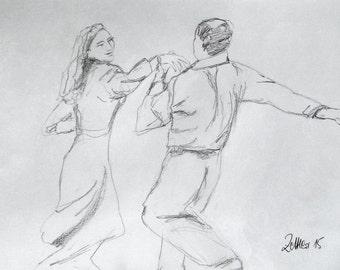 Couple dancing Tango, Pencil Drawing, Tango Dancer, Original Drawing