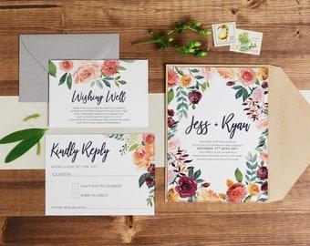 Wedding invitation, wedding invitations, printable invitation, wedding invite, template, autumn marsala wedding invites IVY