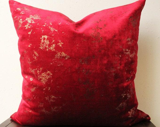 red and copper velvet pillow - vibrant red velvet pillow with copper metallic foil detail