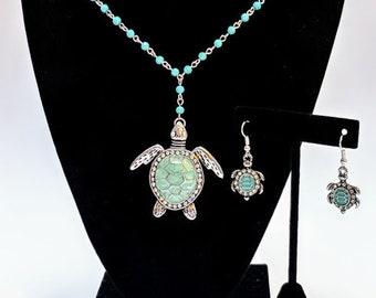 Blue Turtle Necklace/Earring Set