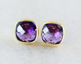 Gold Purple Amethyst Quartz Stud Earrings - Square Posts - Royal Purple