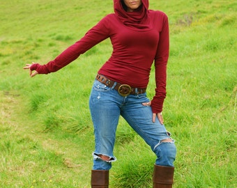 Marsala Cowl Hoodie Long Sleeve Fitted Top Thumb Holes - Red Wine - Eco Friendly - Organic Clothing