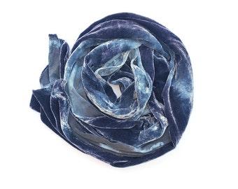 Dusty Blue Purple Silk Velvet Large Scarf/Shawl
