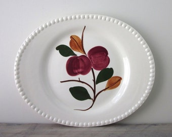 Large Pottery Platter with Fruit Design and Beaded Edge