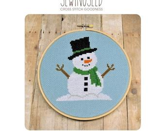 Snowman Cross Stitch Pattern Instant Download