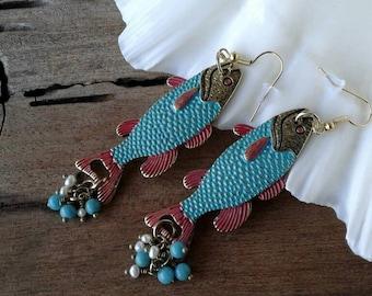 Fish Earrings,Bohemian Earrings,Statement Earrings,Rustic Jewelry,Western Earrings,Southwestern Earrings