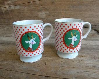 2 Vintage Kurt S Adler Reindeer Coffee Cups / Tea Cups / Holiday Cups / Pair of Reindeer Cups