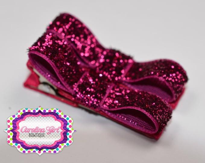 Shocking Pink Glitter Hair Clips ~ Basic Tuxedo Clips ~  Alligator Non Slip ~ Barrettes for Babies Toddler Girl ~ Set of 2