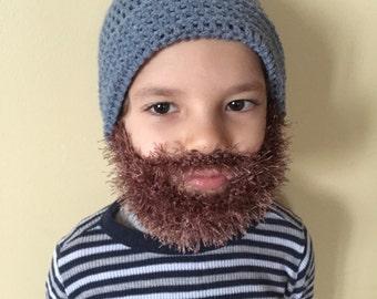 Handmade Crochet Beard hat, beard beanie. Medium blue hat with light brown, coca, light taupe beard, beard hat, baby beard hat, kids beard h