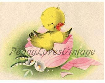 Easter 9 a Sweet Duckling a Digital Image from Vintage Greeting Cards - Instant Download