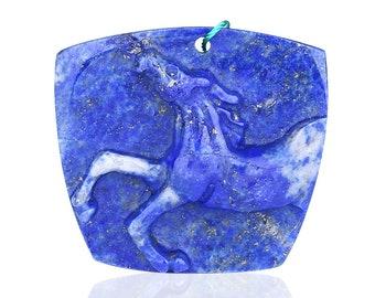 Carved Lapis Lazuli Horse Gemstone Pendant Bead,Animal Carved Pendant,35x31x8mm,11.1g,-CP668