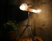 Tripod Lamp Upcycled Lighting Vintage Industrial Light Desk Lamp or Night Light - Tripod Base Dual Bulb Movie Light