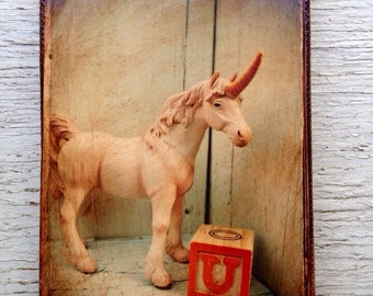Vintage Toy  U is for Unicorn Art/Photo - Wall Art 4x6