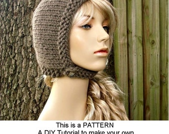 Instant Download Knitting Pattern - Womens Hat Pattern - Knit Hat Pattern for Pixie In Training Aviator Hat Pattern - Womens Accessories