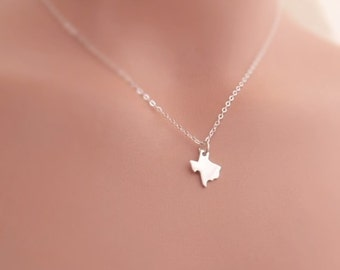 Sterling Silver State Charm Necklace, Personalized State Charm Necklace, Tiny State Charm Necklaces, State Jewelry, Going Away Gift,