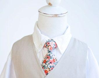 Necktie, Neckties, Boys Tie, Baby Tie, Baby Necktie, Wedding Ties, Ring Bearer, Baby Shower Gift, Rifle Paper Co -  Rosa In Peach