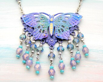 Butterfly Necklace, Purple Butterfly, Butterfly Jewelry