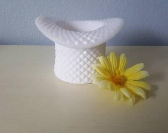 vintage milk glass vase top hat, Hobo wedding center piece