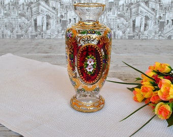 Beautiful Hand Painted Vase With Spring Flowers from 60s-70s