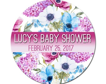 Custom Baby Shower Labels Personalized Watercolor Flowers Lilacs and Anemones Round Glossy Designer Stickers