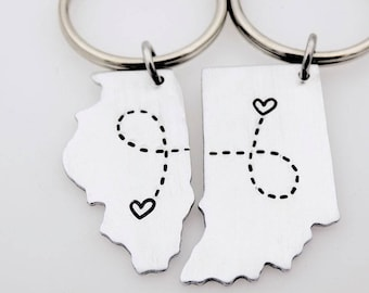 State Country keychain Set, Long distance Love, going away gift, matching set, USA Map, Long distance Couples Gift, Long distance friends