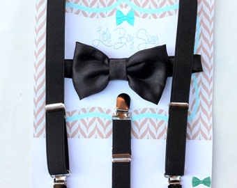 Black Satin Bow tie with Black Suspenders, Boys Formal Wear, Wedding Bow Tie, Ring Bearer Outfit, Groomsman, Boys Outfit, 1st First Birthday
