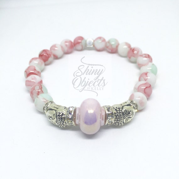 Pink, White and Silver Buddha Bracelet