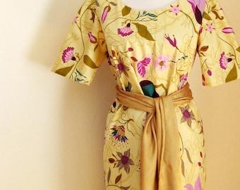 Dress, Spring Dress, Golden Ivory Dress, Orchid Lavender and Turquoise on Golden Ivory Dress