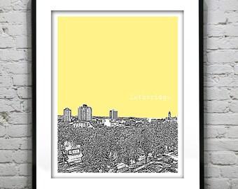 20% OFF Memorial Day Sale - Lethbridge Alberta Canada Poster Print City Skyline Art Print AB Version 1