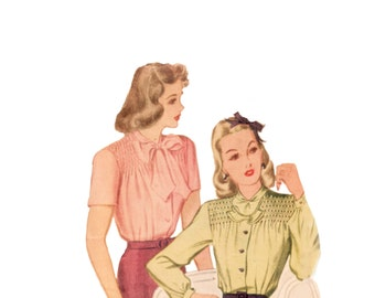 40s Bow Blouse pattern Smocked Blouse vintage pattern 30-25-33 XS Fitted Blouse Old Hollywood Blouse mccalls 1187 mccall 1187