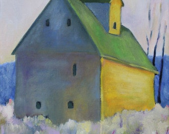 Barn with Green Roof Print of Original Oil Painting