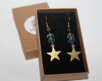 Blue and Clear, Brass Star, Glass Earrings, Raw Brass, Delicate, Small Crystal Glass, Beads, Bespoke Jewellery, Gift, Medusa Bijoux